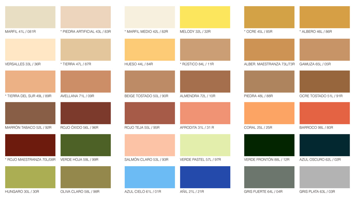 Carta de colores reveliso national paint - Pinturas para madera interior ...